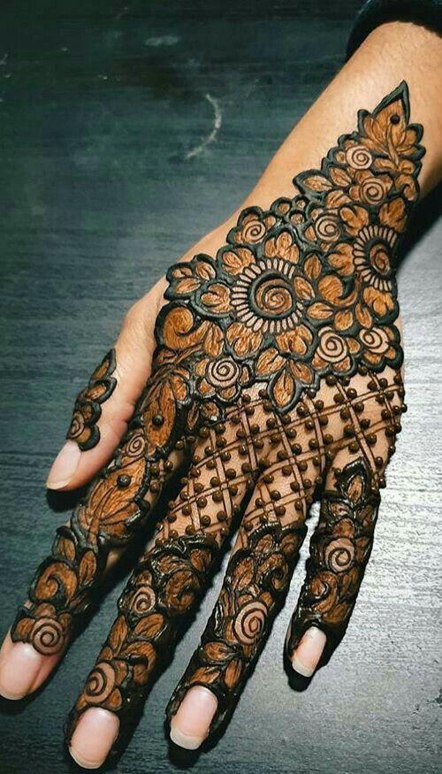 Lotus Motif Mehndi designs khafif