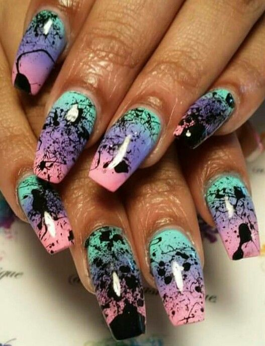 Easy Splatter Nail Design