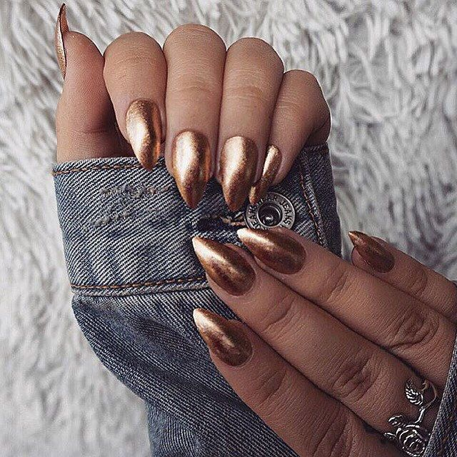 Metallic Oval Nails